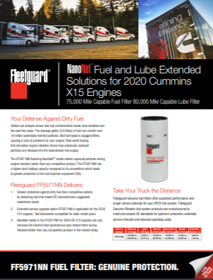 NanoNet Fuel and Lube Extended Solutions for 2020 Cummins X15 Engines
